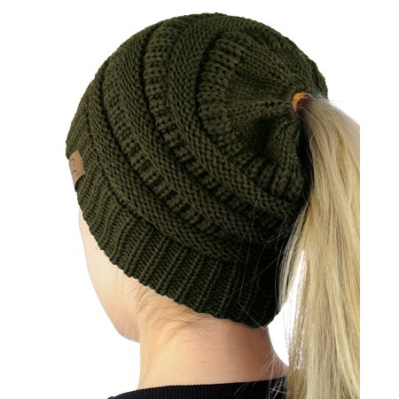 Nyfashion101 C C Beanietail Soft Stretch Cable Knit Messy High Bun