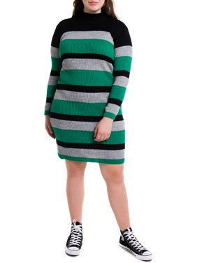 Heartbreak Juniors' Plus Size Mock Neck Ribbed Sweater Dress