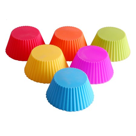 24-Pack Round Shape Silicone Muffin Cupcake Chocolate Mould Liner Reusable Baking Cup Mold - image 5 de 7