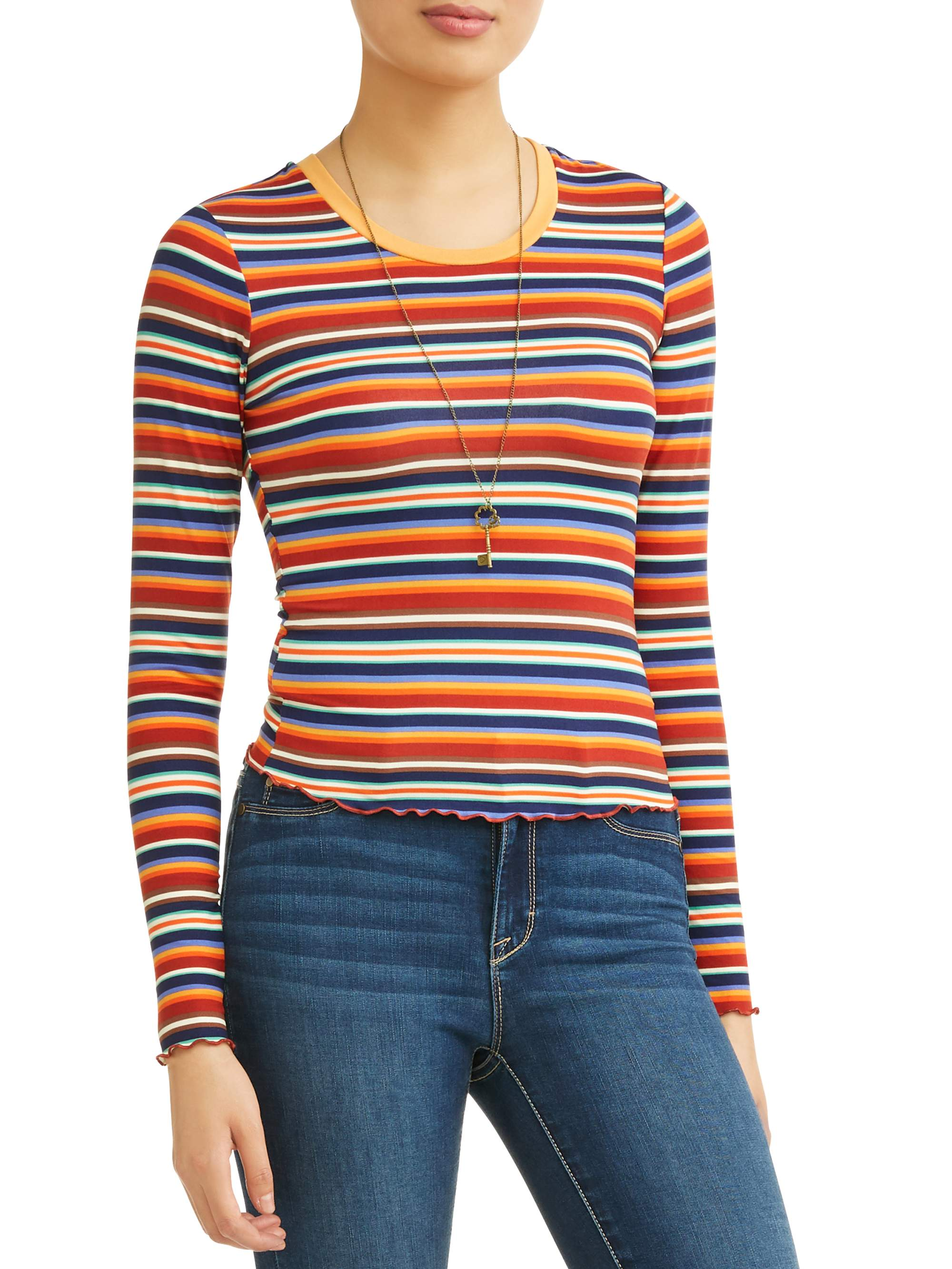 Juniors' Striped Frill Edge Cropped T-Shirt w/ Necklace 2Fer