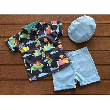 2PCS Set Toddler Kid Baby Boy Animal Tops T-shirt+Shorts Pants Outfits Clothes Blue 18-24 Months Blue Cream Clothing