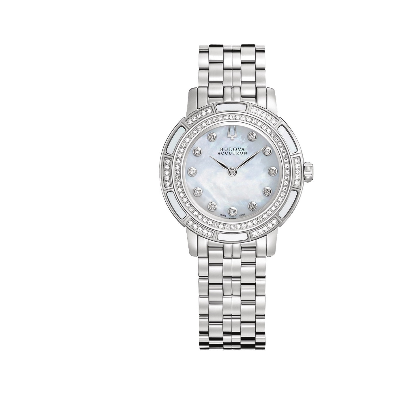 Image of Accutron By Bulova Women's Pemberton Diamond Stainless Steel Mother Of Pearl Dial Movement: Quartz