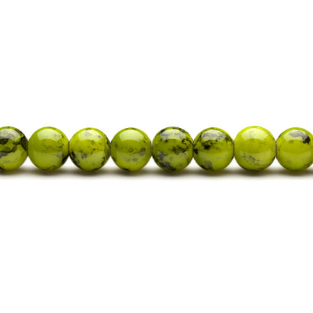 Olive Green Marble Grain Patterned Glass Beads 12mm Round 38-Bead Count