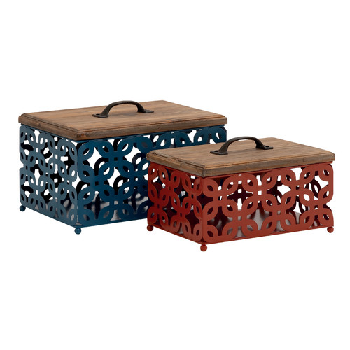 Woodland Imports 2 Piece Simply Beautiful Metal Wood Box Set