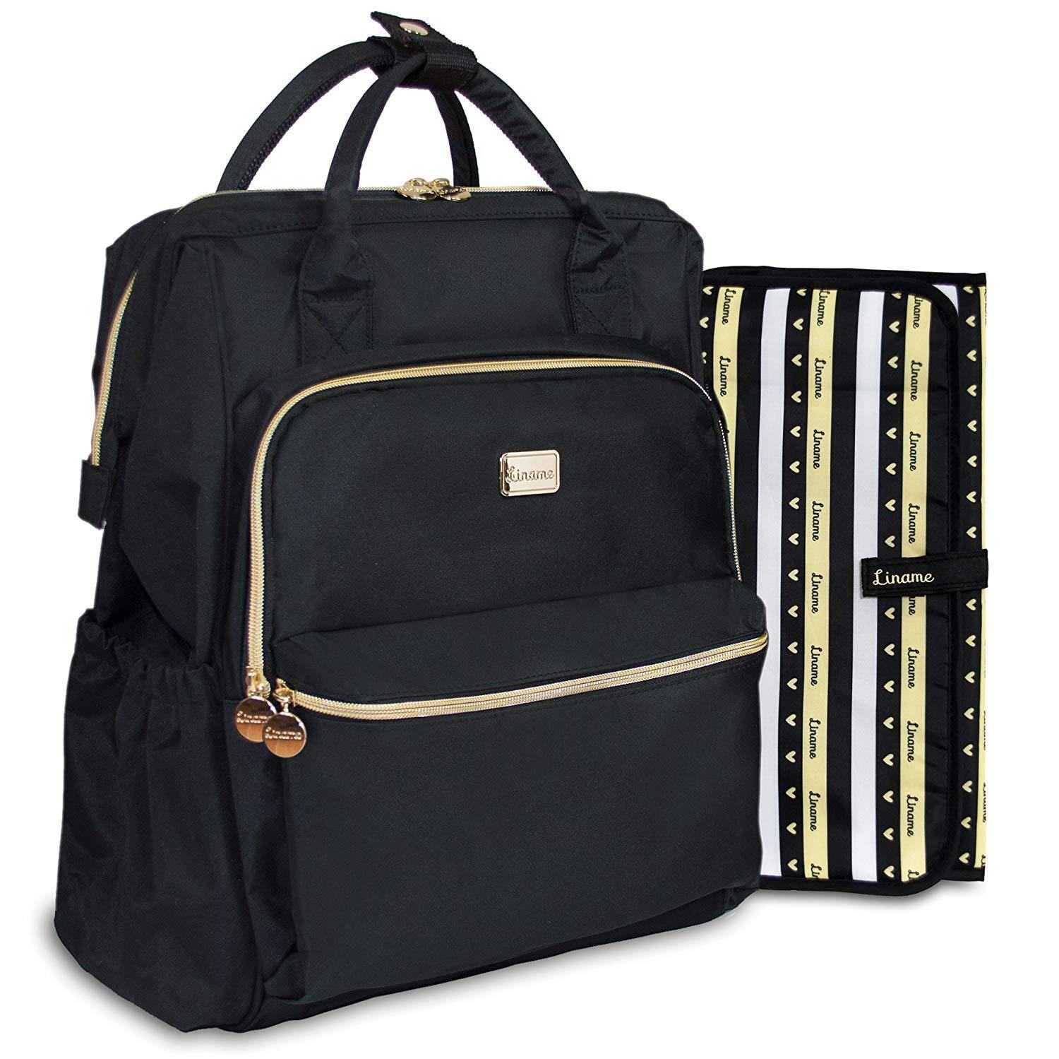 Premium Black Diaper Bag Backpack By Liname With Stroller