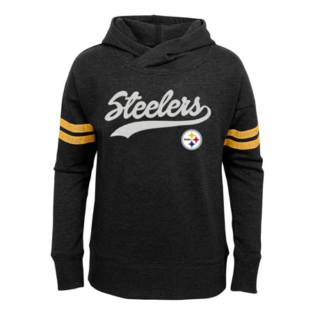 - Girls Youth Black Pittsburgh Steelers French Terry Pullover Hoodie