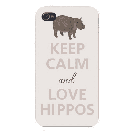 Apple Iphone Custom Case 4 4s White Plastic Snap on - Keep Calm and Love Hippos (Hippo Iphone 4 Case)