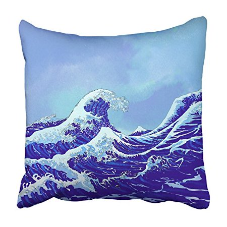 ARHOME White Tsunami Japanese Sea Waves with Blue Sky White Ocean Big Big Japan Nature Pillowcase Cushion Cover 20x20 inch