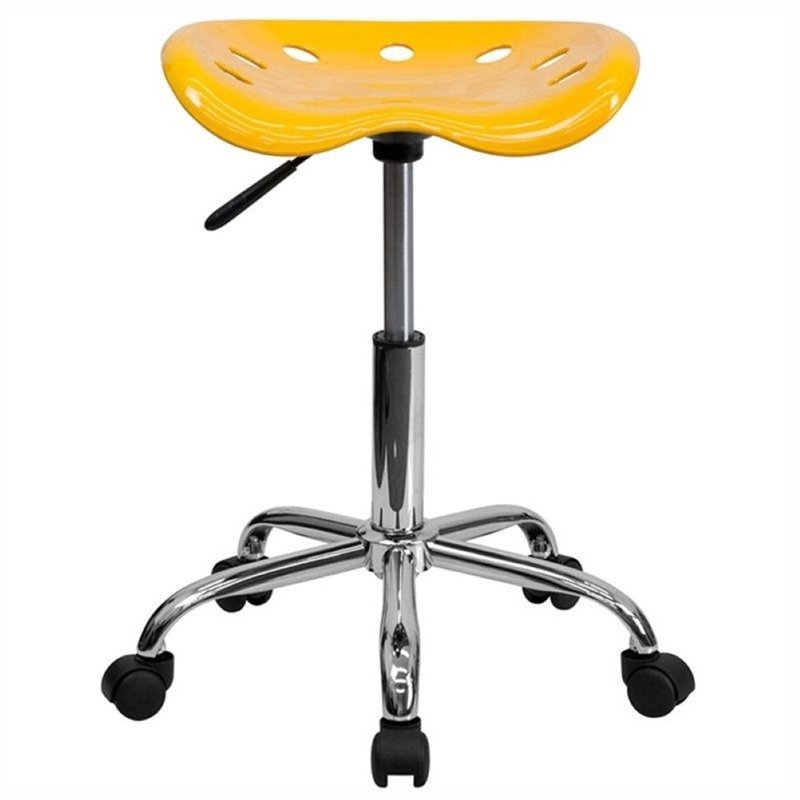 Scranton & Co Adjustable Bar Stool with Chrome Base in Orange Yellow