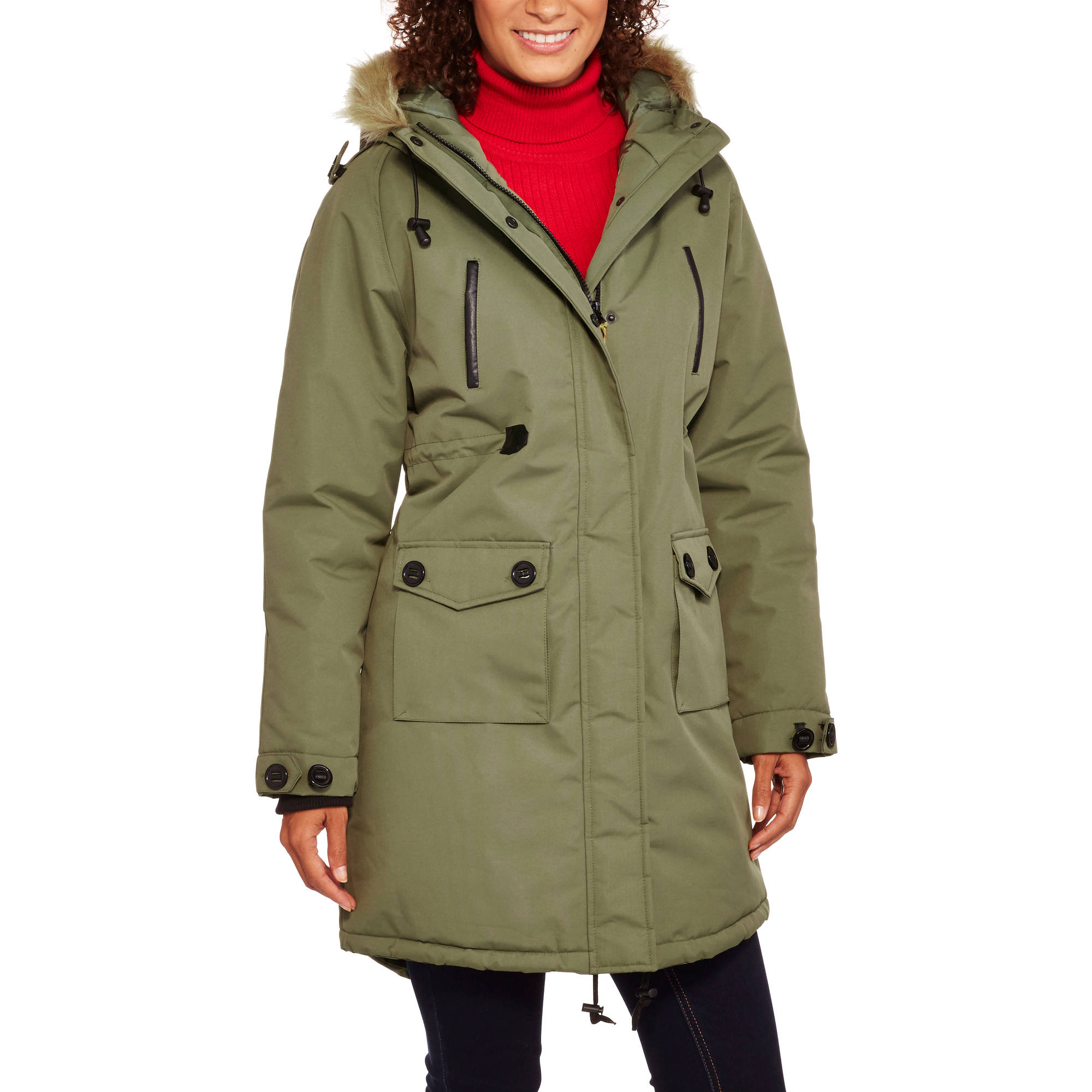Fahrenheit Women's Long Heavyweight Puffer Coat with Fur-Trim Hood