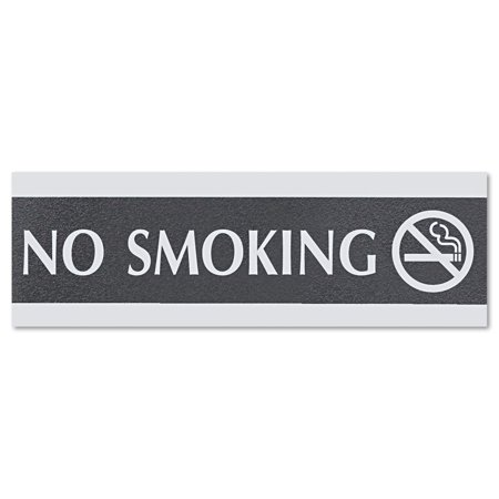 Headline Sign Century Series Office Sign, NO SMOKING, 9 x 3, Black/Silver