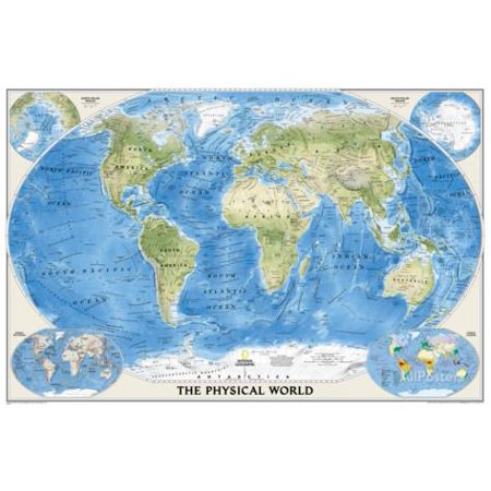 National Geographic - World Physical Map Laminated Poster Laminated