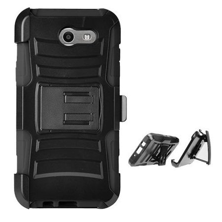 buy popular 141a4 403f9 Phone Case for Straight TalkSamsung Galaxy J3 Luna Pro 4G LTE Prepaid  Smartphone, Dual Layer Holster Belt Clip Cover Case with Kickstand(Black)