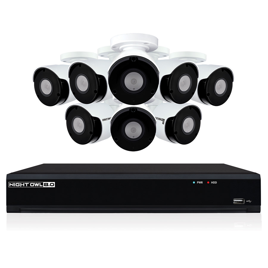 Night Owl 8-Channel 4K UHD Wired Smart Security NVR w/ 2 TB Local Storage, 8-4K UHD IP Camera Security System