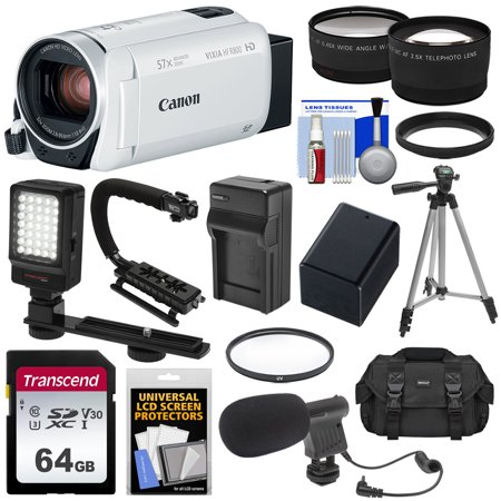 Canon Vixia HF R800 1080p HD Video Camera Camcorder (White) with 64GB Card + Battery + Charger + Case + Tripod + Stabilizer + LED + Mic + 2 Lens (Canon Vixia Hf G20 Hd Camcorder Review)