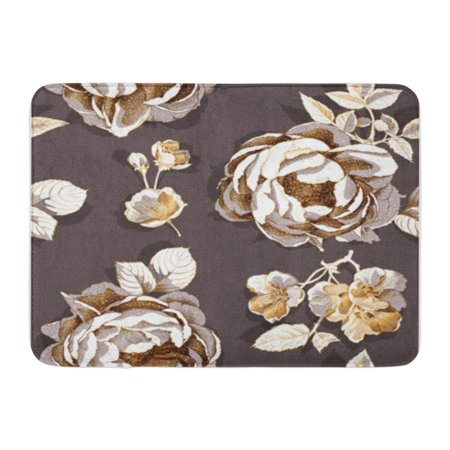 KDAGR Beautiful Gold Peony and Cherry Flowers Leaves on Dark Doormat Floor Rug Bath Mat 30x18 (Dark Cherry Floor)