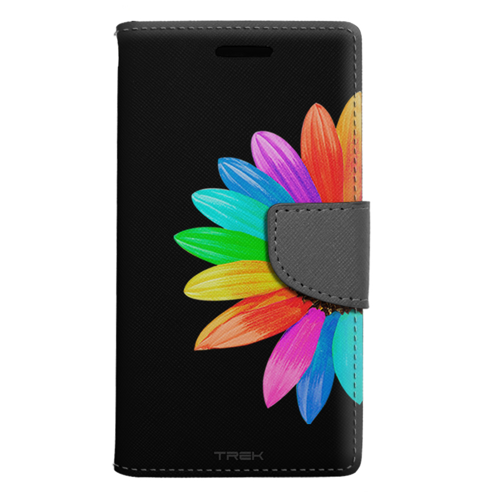 LG Aristo Wallet Case - Colorful Sun Flower on Black Case