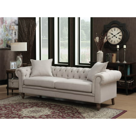 juliet collection contemporary linen fabric upholstered button tufted living room chesterfield. Black Bedroom Furniture Sets. Home Design Ideas