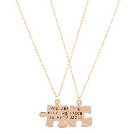 Lux Accessories You Are The Missing Piece To My Puzzle BFF Best Friends Forever Pendant Necklace (2
