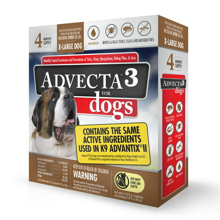 Image of Advecta 3 Flea & Tick Treatment for Dogs â Flea and Tick Medicine for Extra Large Dogs, 4 Doses
