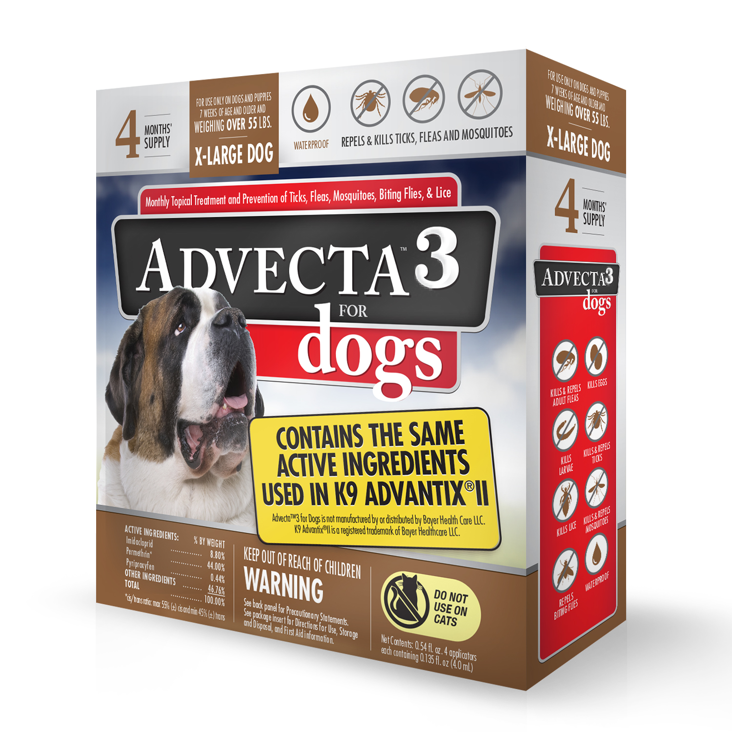 Advecta 3 Tick, Flea, and Mosquito Repellent and Treatment for Extra Large Dogs, 4 Monthly Doses
