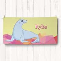 Personalized Girl Sea Lion Kids Beach Towel