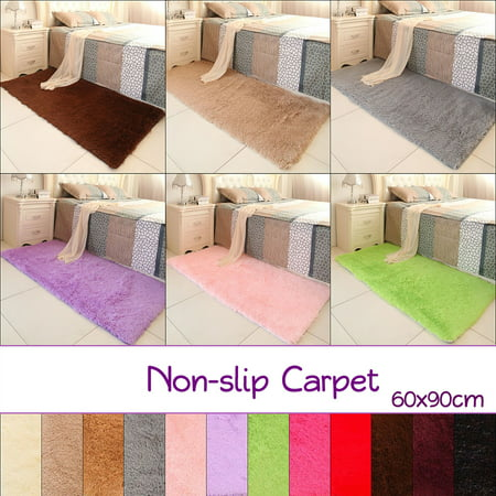 Fluffy Rectangle Floor Rug Anti-skid Shaggy Area Rug Dining Room Carpet Yoga Bedroom Floor Warm Mat / Cover,60x90cm,12 colors