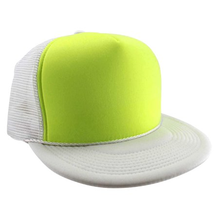Enimay Neon Colored Black Light Trucker Style Foam Hats Pool Party Rave Summer Neon White Yellow One Size](Neon Black Light Party)