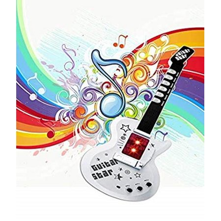 Elegantoss Music Sound & Lights Electric Guitar with Speakers Microphone for Kids, White