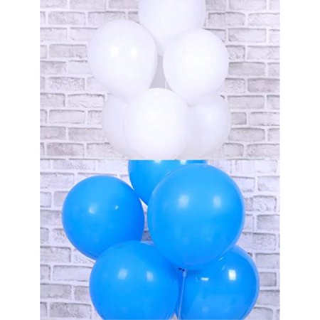 100 Pcs Whiteand Royal Blue Balloons 12 Inches Latex Round Balloons