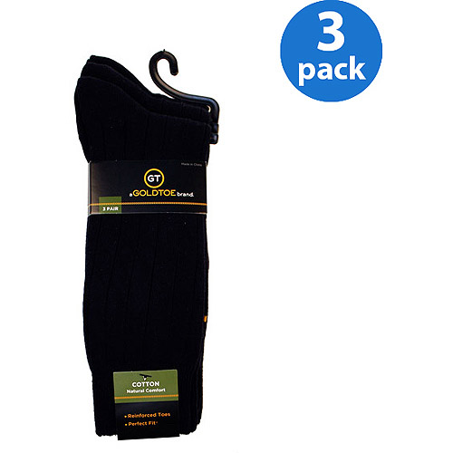 GT by Gold Toe Cotton Rib Socks, 3-Pack