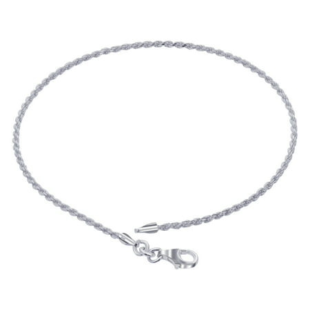 Gem Avenue 925 Sterling Silver Rope Chain Bracelet With Lobster Clasp (7 - 8 inch -