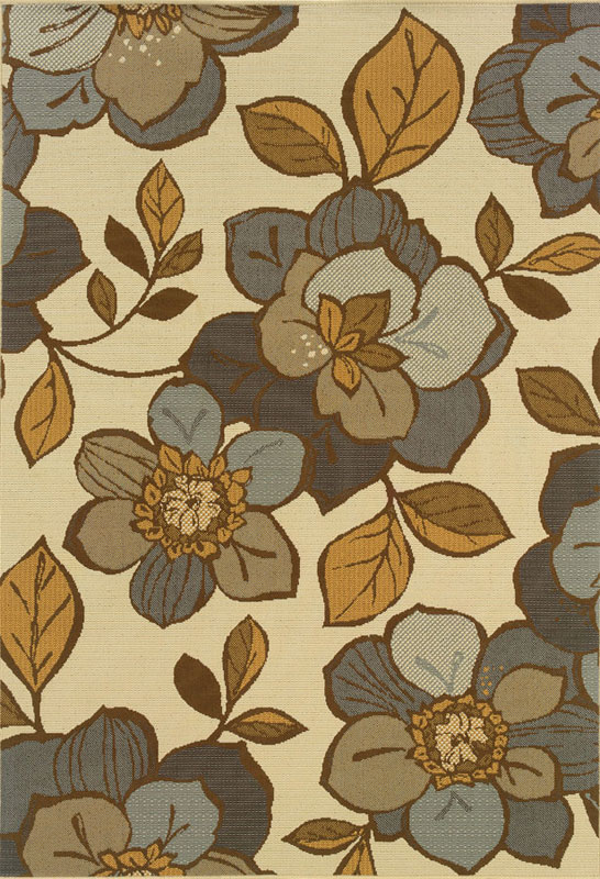 Moretti Thorn Area Rugs   9448M Outdoor Ivory Patio Magnolia Flowers  Branches Rug