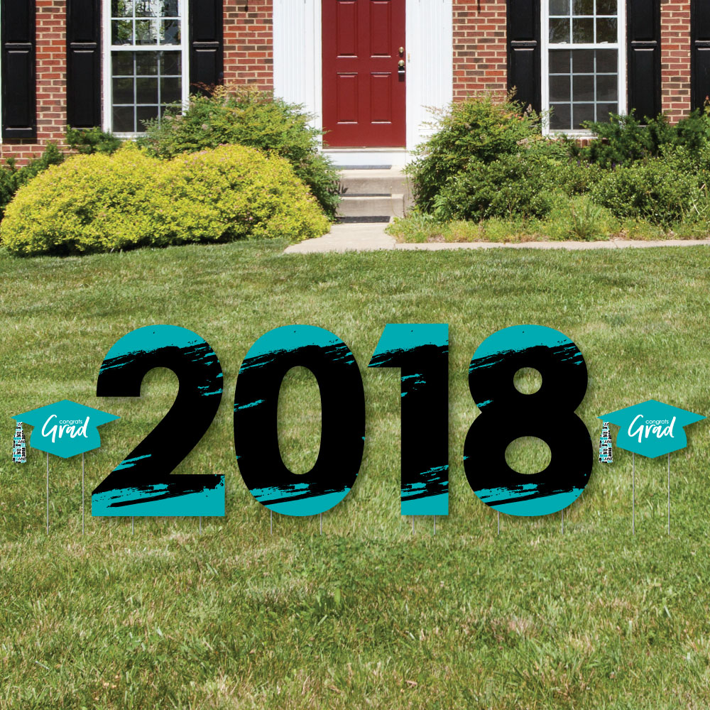 Teal Grad - Best is Yet to Come - 2018 Yard Sign Outdoor Lawn Decorations -  Turquoise Graduation Party Yard Signs