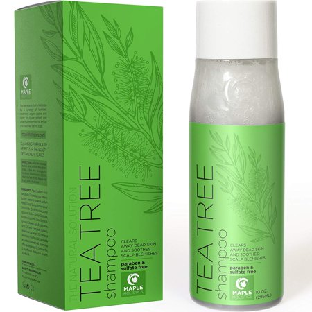 Natural Tea Tree Oil Shampoo for Dandruff and Itchy Scalp - Sulfate Free Deep Cleansing Hair Care for Men and Women - Essential Oils Rosemary Pure Lavender - Sensitive and Color Treated Hair - 10