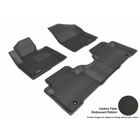 3D MAXpider 2013-2017 Hyundai Santa Fe Sport Front & Second Row Set All Weather Floor Liners in Black with Carbon Fiber Look