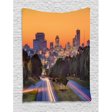 United States Tapestry, Skyline of Columbia City South Carolina Main Street Urban Scene, Wall Hanging for Bedroom Living Room Dorm Decor, 60W X 80L Inches, Orange Dark Green Blue, by Ambesonne