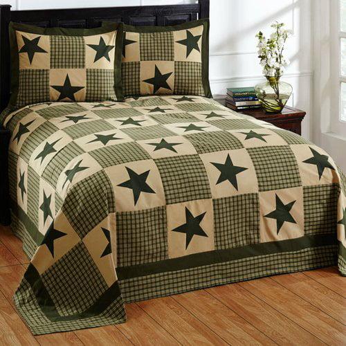"Star Bedspread Set, 96""X110""/Full, Green/Gold"