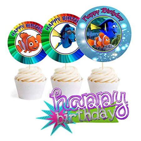 12 Happy Birthday Finding Dory Inspired Party Picks Cupcake