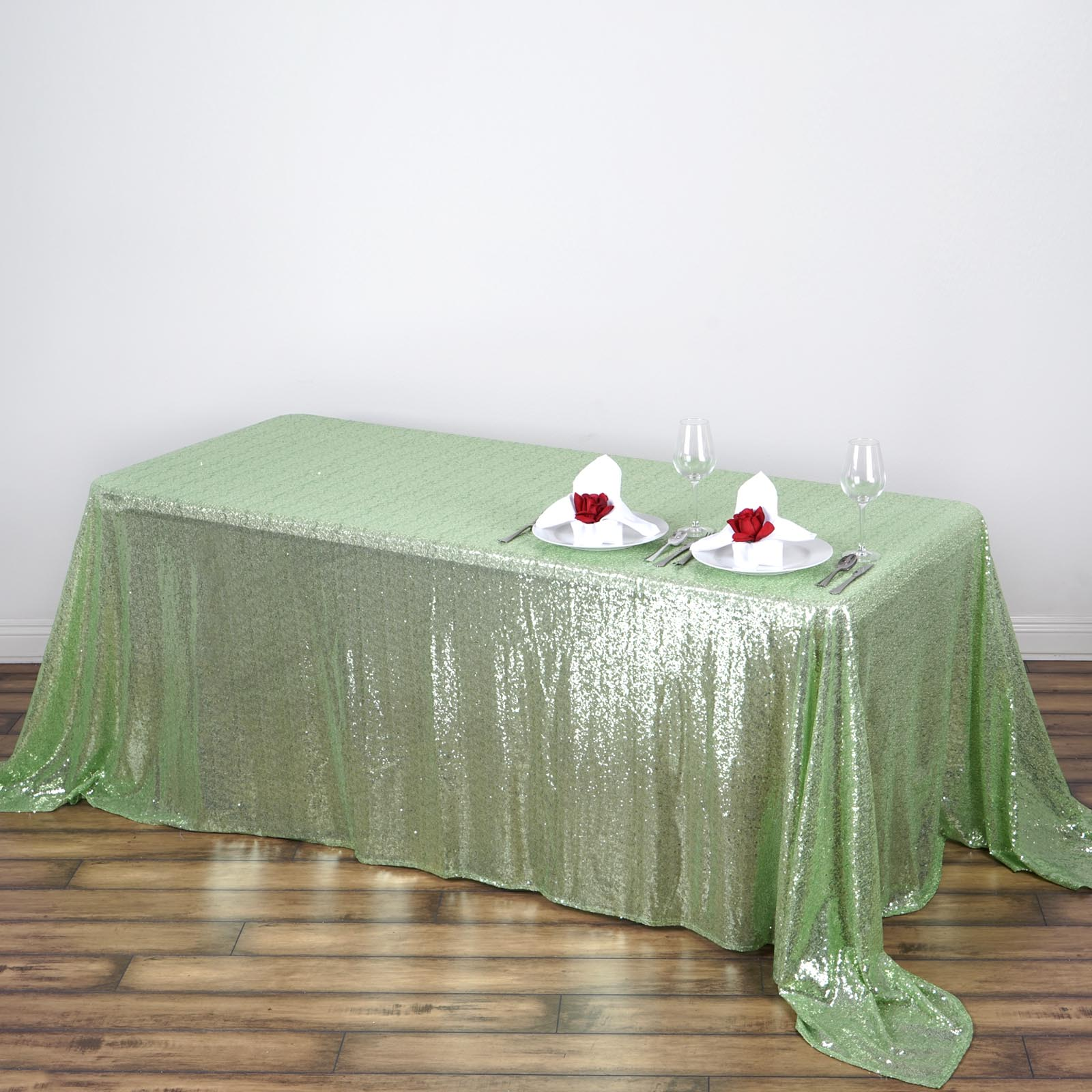 "BalsaCircle 90"" x 132"" Sequin Rectangular Tablecloth for Party Wedding Reception Catering Dining Home Table Linens"