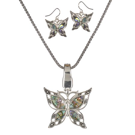 Silver Tone Green Abalone Filigree Butterfly Magnetic Clasp Pendant Popcorn Chain   Earrings