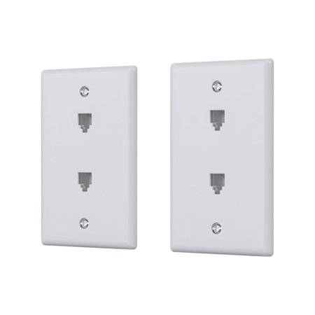 Duplex Phone Jack Wall Plates - Monoprice Duplex Phone Jack Plate - White (2 pack)   Terminating 4-conductor (4P4C) Phone Lines