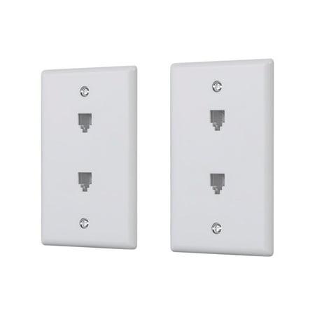 Monoprice Duplex Phone Jack Plate, White, 2-pack - image 1 of 2