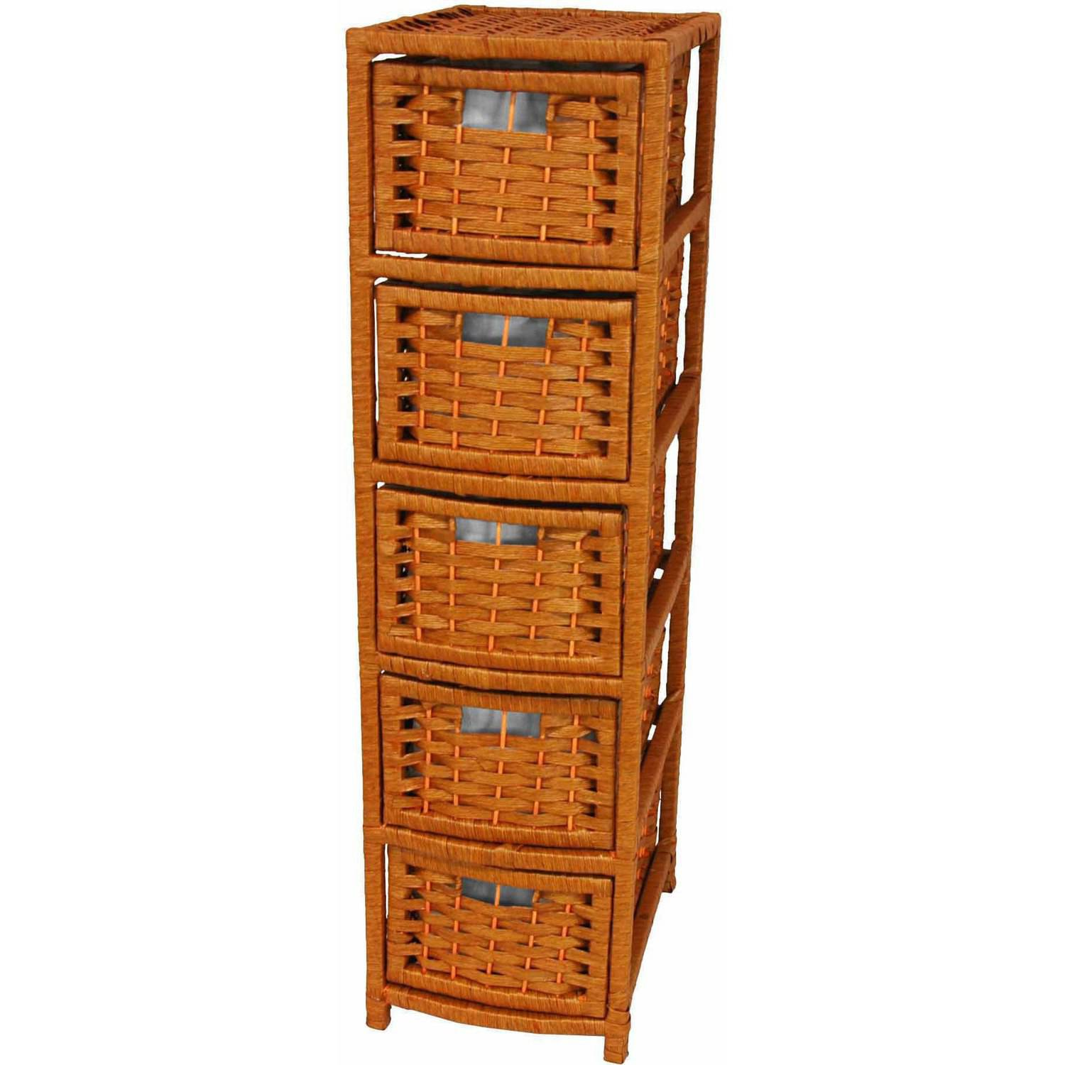 Natural Fiber Occasional Chest, 5 Drawer
