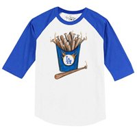 Los Angeles Dodgers Tiny Turnip Toddler Hot Bats 3/4 Sleeve Raglan T-Shirt - White/Royal - 6T