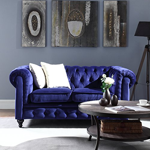 Madison Classic Scroll Arm Chesterfield Style Navy Blue L...