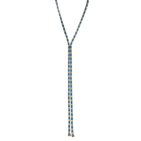 X & O Black Rhodium Plated single row X-shape necklace in Sapphire and White Crystal Combination -