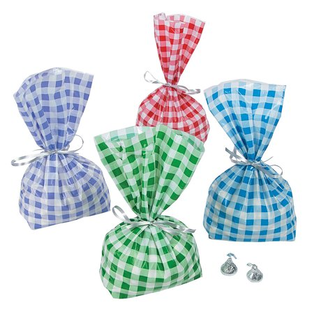 Fun Express - Gingham Cello Bag Assortment - Party Supplies - Bags - Cellophane Bags - 36 Pieces - Pink Gingham Party Supplies