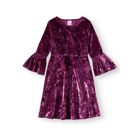 Wonder Nation Girls' Crushed Velvet Bell Sleeve Dress - Girls Velvet Shrug