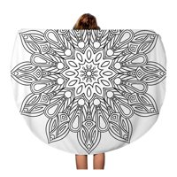 LADDKA 60 inch Round Beach Towel Blanket Doodle Flower Mandala Coloring Book for Adult and Children Travel Circle Circular Towels Mat Tapestry Beach Throw